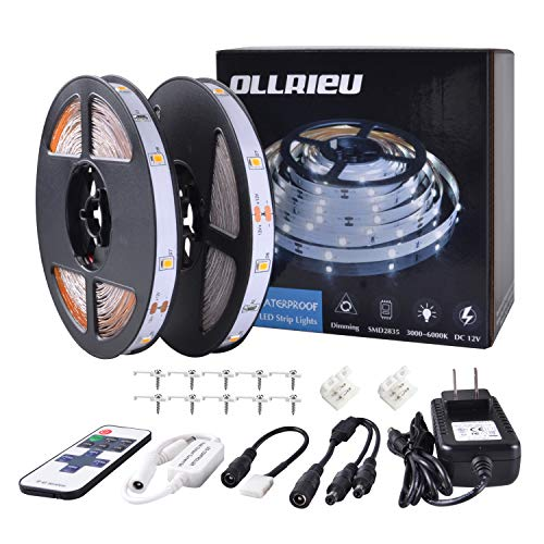 ollrieu LED Strip Light Warm White Dimmable,24.6ft/7.5m Non-Waterproof Indoor String Light 12V 225 Units SMD 2835 LEDs RF Remote DIY Decoration Lighting for TV Cabinet Mirror (2 Rolls/Pack) ()