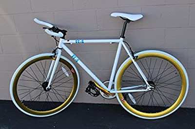 New R4 White & Gold Complete Fixie Road Bicycle W/ Bull Bars, 54CM, Medium
