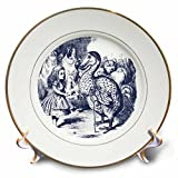 3dRose cp_110197_1 Alice and The Animals Vintage Alice in Wonderland-Porcelain Plate, 8-Inch
