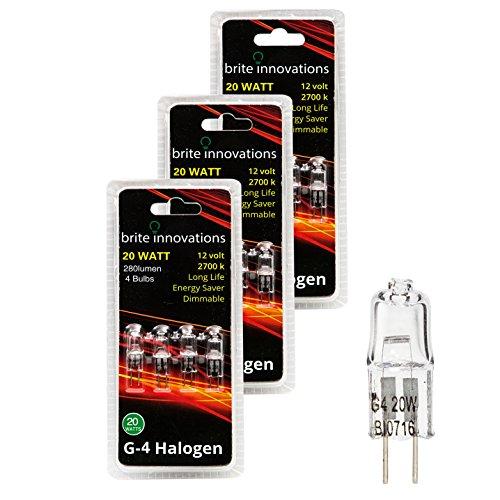 12 Volt Clear Bi Pin (Brite Innovations G4 Halogen Bulb, 20 Watt (12 pack) Dimmable Soft White 2700K -12V-Bi Pin -, T3 JC Type, Clear Light Bulb)