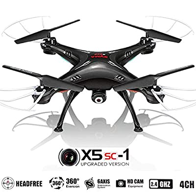 Drone with Camera for Sale - X5SC Quadcopter RC Helicopter Drones -HD 720p Cam, Easy Control Headless Mode, 3D Flip, 6 Axis Gyroscope, 4 Channels Radio Control, KiiToys USA Warranty & Tech Support