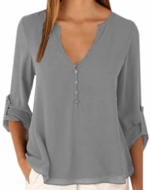 bfe3a74d Fuxiang Blusas Mujer Gasa Camisetas Manga Larga Camisas Blusa Camisa Cuello  V Shirt Casual Camiseta Top