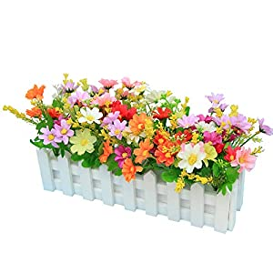 XuanMax Creative Artificial Chrysanthemum Flowers with Fence Artificial Potted Plants Simulation Fake Bonsai Home Decoration Ornaments for Table Desk Office Decor - Mix Color 12