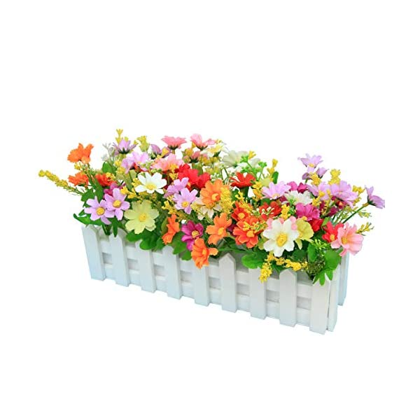 XuanMax Creative Artificial Chrysanthemum Flowers with Fence Artificial Potted Plants Simulation Fake Bonsai Home Decoration Ornaments for Table Desk Office Decor – Mix Color