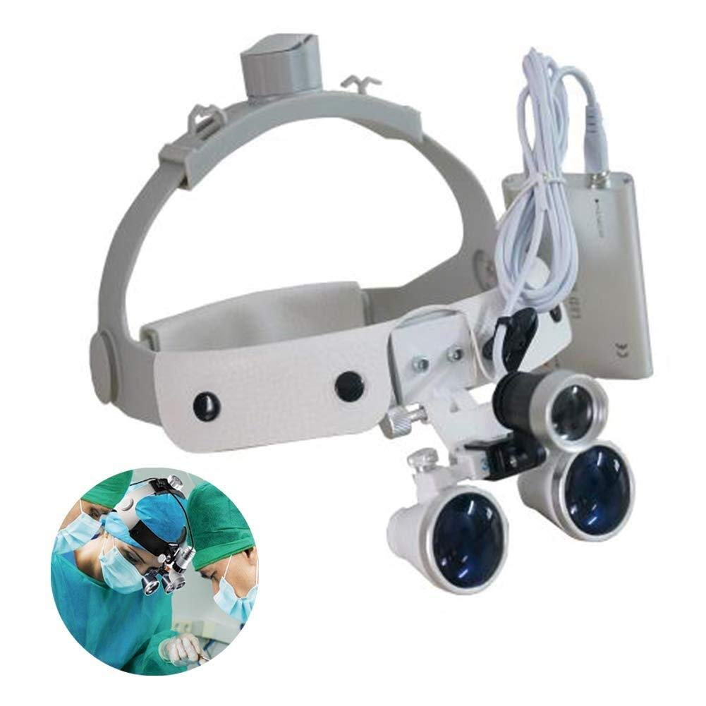 Handheld magnifier Double Eyes Hands Free Headband Magnifier, LED with Headlights Visor Glasses Magnifying - for Dental Medical Surgical,Jewelry Appraisal, And Miniature Engraving,2.5X Multipurpose pe by LHBNH