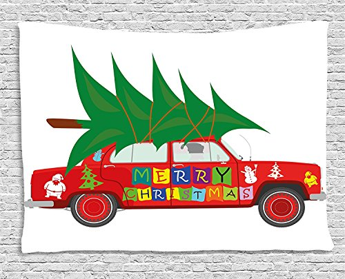 Christmas Red Vintage Car with Xmas Tree Merry