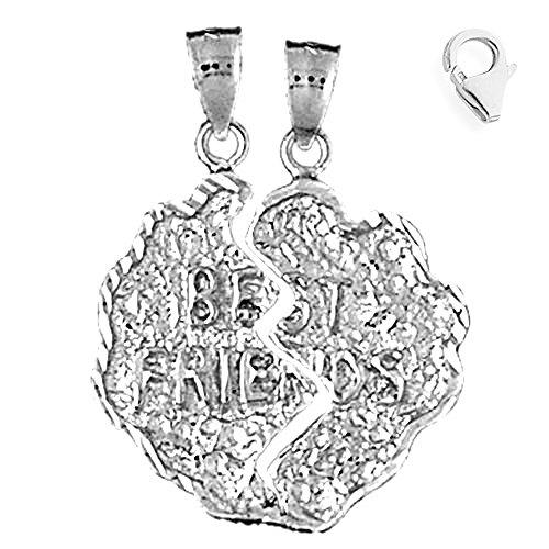 - Jewels Obsession Saying Charm | 14K White Gold Breakable Best Friends Saying Charm Pendant - 32mm
