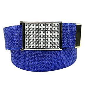 Girls Sparkly Crystal Flip Top Belt Buckle Belt Buckle with Canvas Web Belt Small Glitter Blue