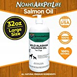 Noah's Ark Pet Life 32 oz LARGE SIZE Pure Wild Alaskan Salmon Oil Dogs, ALL NATURAL, Omega 3 Dogs, Healthy Skin & Coat, Reduce Shedding, Heart & Pain Free Joints, EPA, DHA ~Liquid Pump