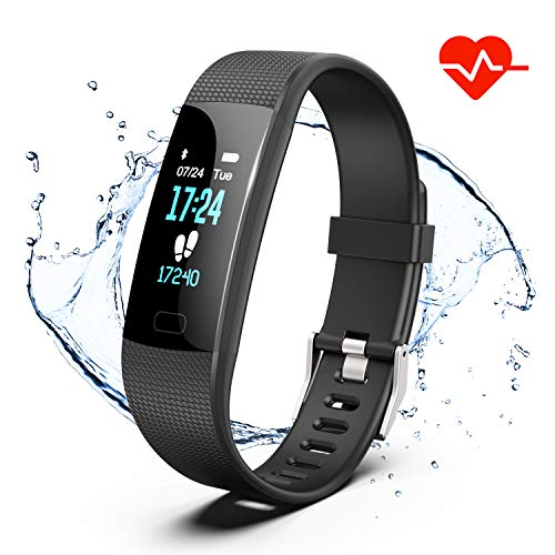 Fitness Tracker, Color Screen Activity Tracker Watch with Heart Rate Monitor, Pedometer IP67 Waterproof Sleep Monitor Step Counter for Android & iPhone -Black