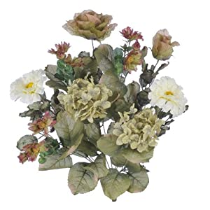 House of Silk Flowers Artificial 21-inch Earth-Tone Dry-Look Hydrangea/Rose/Daisy Bush (Set of 6) 54
