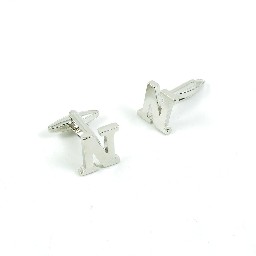 50 Pairs Cufflinks Cuff Links Fashion Mens Boys Jewelry Wedding Party Favors Gift MQN046 Shinning Silver Letter N