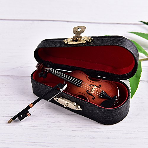 Dengguoli Size 3 inch Mini Violin Dollhouse Miniature Musical Instrument Wooden Model Decor with Bow Stand Support and Case