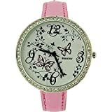 Henley Glamour Ladies Crystal Butterfly Dial Pink Metallic Strap Watch H06089.5