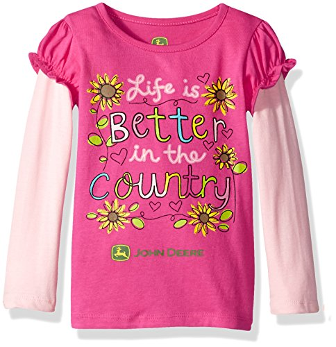 - John Deere Baby Girls' Layered Look 2 for Tee, Pink, 4T