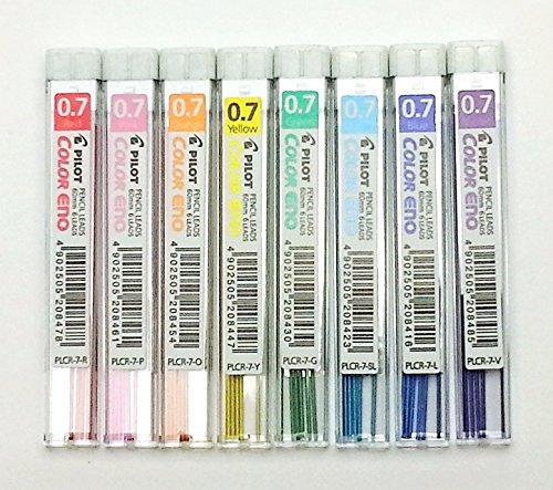 Pilot Color Eno Mechanical Pencil Lead - 0.7mm - 8 Color Set (Colored Leads)