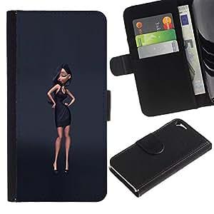 Paccase / Billetera de Cuero Caso del tirón Titular de la tarjeta Carcasa Funda para - black dress design fashion grey style - Apple Iphone 5 / 5S