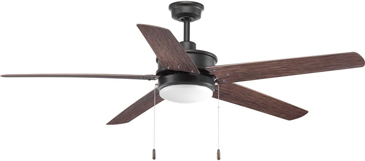 Progress Lighting P2574-8030K Protruding Mount, 5 Toasted Oak Blades Ceiling fan with 18 watts light, Forged Black