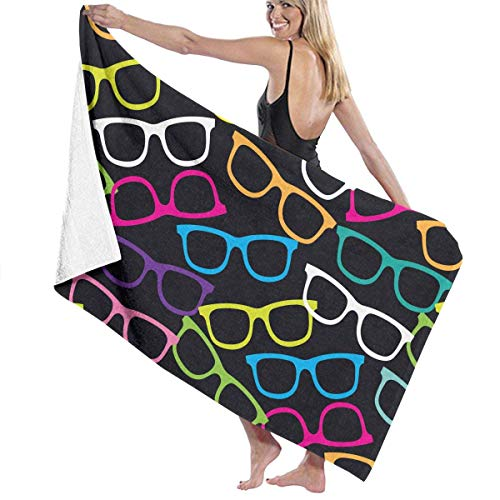 VIMMUCIR Eyeglasses Pop-Art Pattern Adult Soft Microfiber Printed Beach Towel - Super Absorbent Fade Resistant Towel for Swimming, Surf, Gym, Spa 30in X - Eyeglasses Art