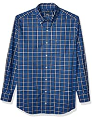 Nautica Men's Big and Tall Navtech Wrinkle-Resistant Long Sleeve Plaid Shirt