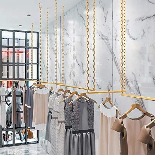 FURVOKIA 2 Pcs Adjustable Height Creative Iron Chain Clothing Hanging Racks,Clothes Storage Shelves, Heavy Duty Metal Garment Rack,Retail Display Ceiling Hanger (Gold, 47.2 L)