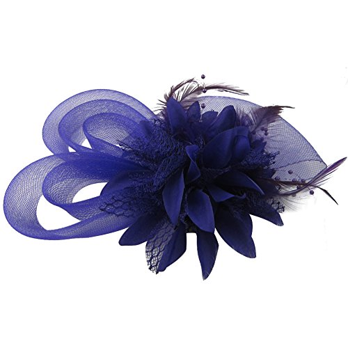 (Auranso Derby Netting Mesh Headband Feather Big Flowers Hair Band Tea Party Girls Women Wedding Bridal Fascinator Hat)