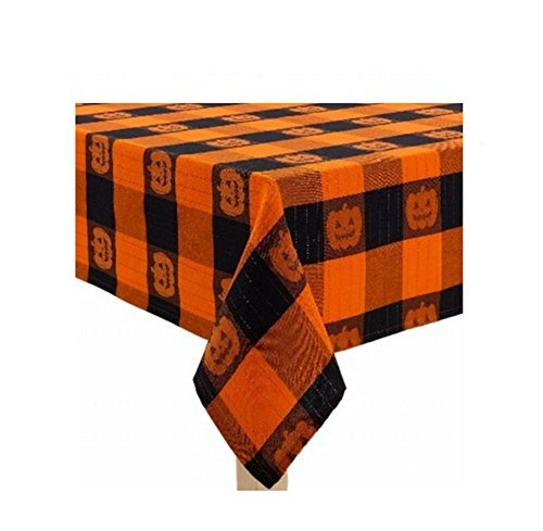 (Midnight Market Halloween Orange Black Block Pumpkin Plaid Woven Fabric Tablecloth (60 x 84)