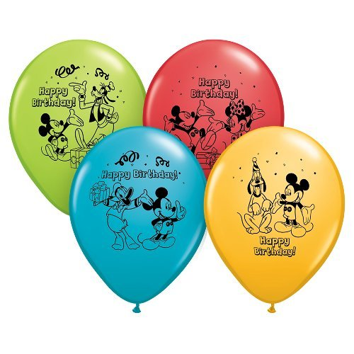 sed Mickey Mouse Happy Birthday Latex Balloons, Multicolored (Mouse Latex)