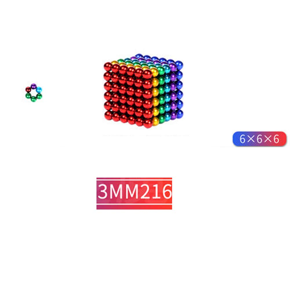 XHN Buck Ball Magic Building Ball Toys, 3mm 216pcs Creative Small Metal Balls Cube Desk Decompression Toy for Leisure Time Travel Entertainment-Color by XHN