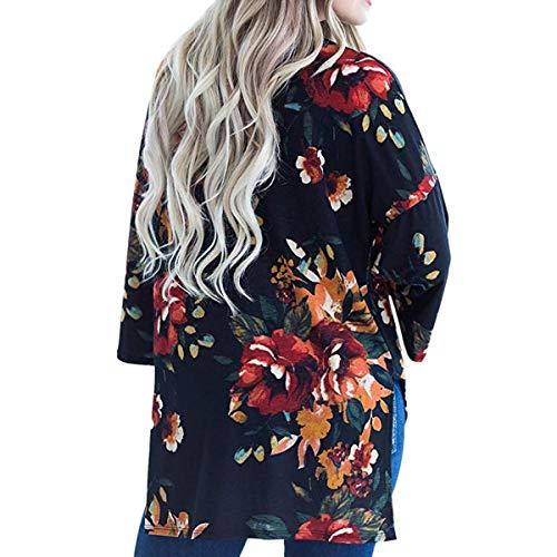 exteriores prendas Kimono manga Invierno Color abierta Up larga Floral delantera ZFFde tamaño Cardigan Coat Women Cover S Black de vestir 1ZRwE47qn