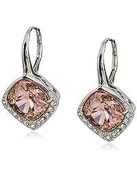 Platinum-Plated Swarovski Elements Crystal Cushion Stud Earrings