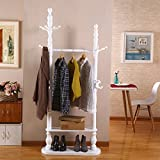 HOMEE European Creative Floor Solid Wood Easy to Assemble Multi - Functional Coat Racks Modern Simple Bedroom Living Room Hangers (4 Colors Available),#3
