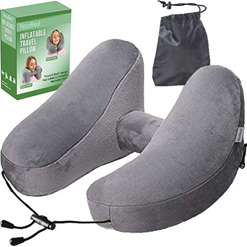 table Travel Pillow Airplanes - Air Pillow w/Adjustable Neck Size - Supports Chin, Head - Soft Washable Cover - Cell Phone Pocket - Grey - Launch Offer ()