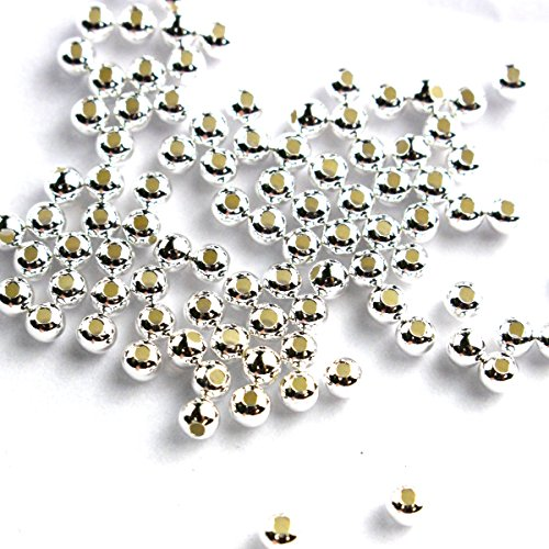 Tacool 100pcs Genuine 925 Sterling Silver Round Ball Beads for Jewelry Making Findings (3mm)