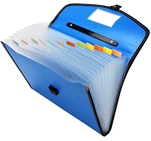 FASTUNBOX (LABEL) Expanding File Folder, Accordion Document/Letter A4 Size File Organizer with Handle and 13 Pockets – Assorted Colour
