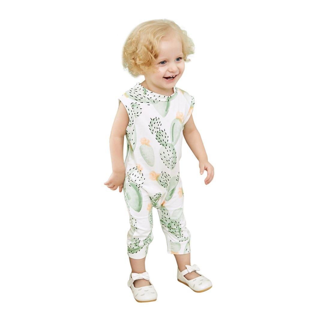 9bb1600c3e9 Amazon.com  ARINLA Newborn infant baby child baby cactus prints sleeveless  romper jumpsuit  Clothing