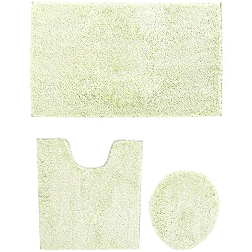 - AmazonBasics Plush Melange Sculpted Bath Mat - Green, 3-Size Set