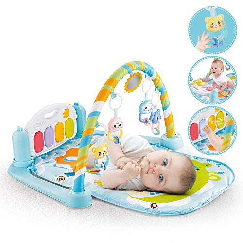 Karooch 5 in 1 Baby Piano Gym Mat Game Activity Center Blanket of 1x Music Baby Play Lay Pad 4X Hanging Doll 1x Mirror and 1x Pedal Piano