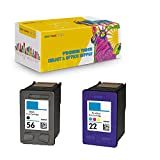 New York TonerTM New Compatible 2 Pack C9352A XL (HP 22) C6656 (HP 56) High Yield Inkjet for HP : 1410 - Black Color