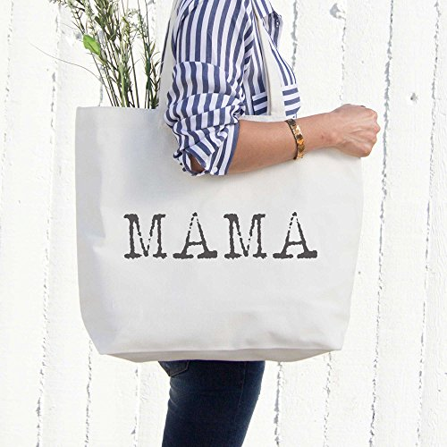 Mama Typewriter Canvas Bag Tote Diaper Book Grocery Bag For Mom Mother's Day by 365 In Love (Image #1)