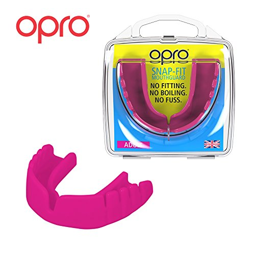 OPRO Mouthguard Snap-Fit Gum Shield for Ball, Combat and Stick Sports - No Boiling or Fitting Required -18 Month Warranty (Adult, Pink)