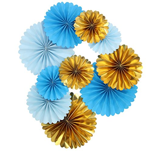 Mybbshower Blue Ivory Gold Paper Pinwheel Living Room Wall Decor for Boy Birthday Party Baby Bridal Shower Backdrops Pack of -