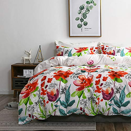 - TanNicoor Boho Duvet Cover,Hotel Quality Lightweight Microfiber Bedding Set,Watercolor Floral Plants Pattern Printed on White,Soft Comfortable with Zipper Closure Comforter Cover(3pcs, Queen Size)