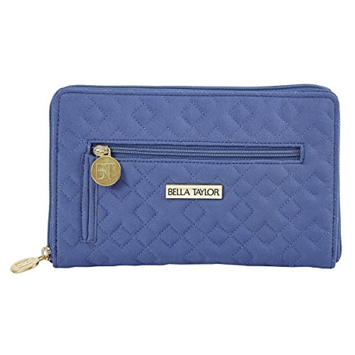 Heritage Blue Microfiber Quilted Cotton Signature Zip Wallet