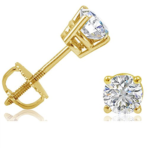 AGS Certified 1/2ct TW Round Diamond Stud Earrings in 14K Yellow Gold with Screw - Gold Solitaire Earrings Diamond