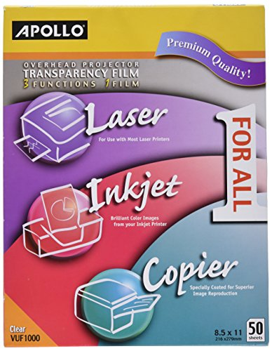 Apollo Multi-Function Transparency Film, 8.5 x 11 Inches, Clear, 50 Sheets per Pack (VUF1000E)