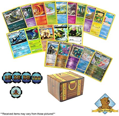 100 Assorted  Cards: Features 5 Rares 5 Holos 90 Common/Uncommon and Custom Damage Chips - All Cards are Authentic - Includes Golden Groundhog Treasure Chest Storage Box