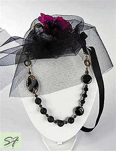 - Onyx Jewelry Exquisite necklace with black onyx agate and smoky quartz asymmetric shape on ribbons