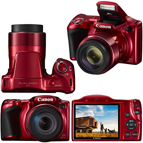 Canon Powershot SX420 is 20 MP Wi-Fi Digital Camera with 42x Zoom (Red) Includes: Canon NB-11LH Battery & Canon Charger…