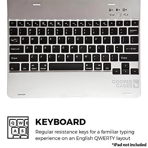 iPad 2 3 4 keyboard case, COOPER KAI SKEL P1 Bluetooth Wireless Keyboard Portable Laptop Macbook Clamshell Case Cover with Rechargeable Battery Power Bank for Apple iPad 2nd 3rd 4th generation Silver